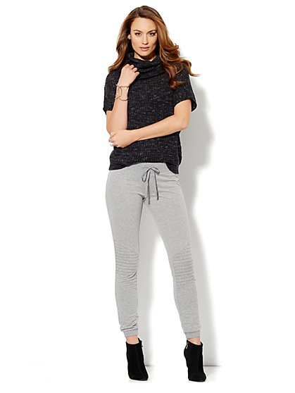 Love, NYC Collection - Heathered Moto Sweatpant - New York & Company