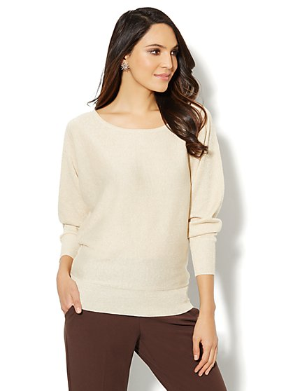 Lurex Bateau-Neck Dolman Sweater  - New York & Company