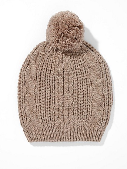 Lurex Cable-Knit Hat  - New York & Company