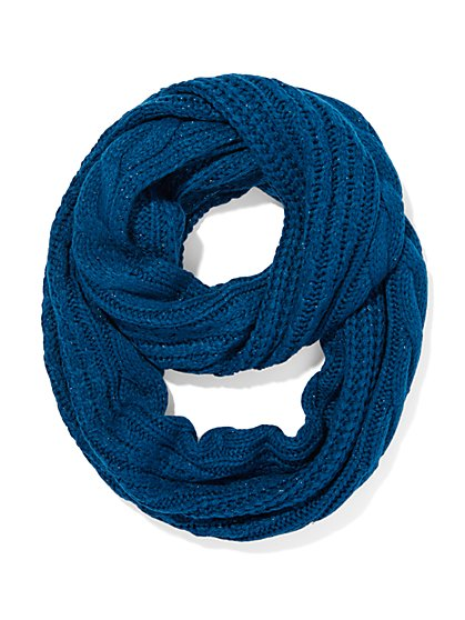 Lurex Cable-Knit Infinity Scarf  - New York & Company