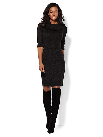 Lurex Cowl-Neck Sweater Dress  - New York & Company