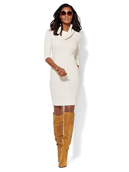 Lurex Cowl-Neck Sweater Dress  - New York & Company