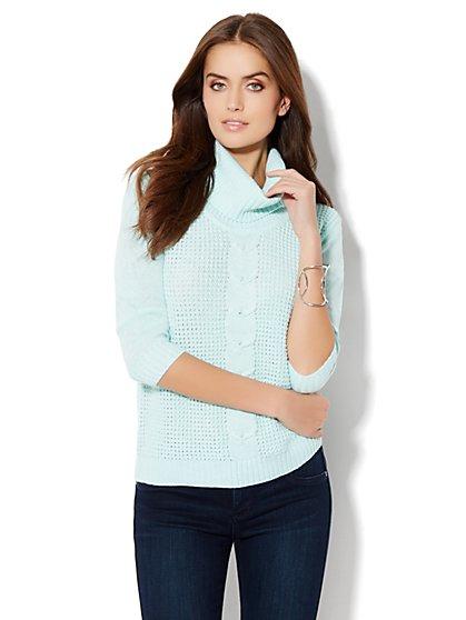 Lurex Cowl-Neck Waffle Sweater - New York & Company