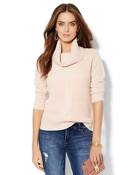 Lurex Cowl-Neck Waffle Sweater - New York & Company