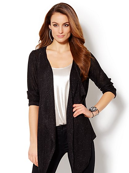Lurex Draped Flyaway Cardigan  - New York & Company