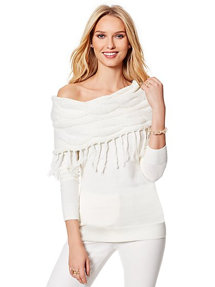 Lurex Fringed Cowl-Neck Sweater - New York & Company