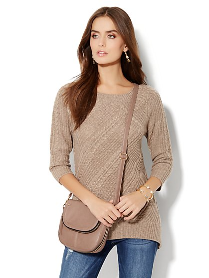 Lurex Hi-Lo Cable Sweater - New York & Company
