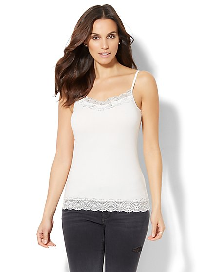 Lurex Lace-Trim Camisole - New York & Company