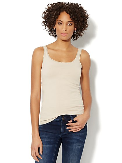 Lurex Lace-Trimmed Camisole  - New York & Company