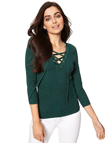 Lurex Lace-Up Ribbed Sweater - New York & Company