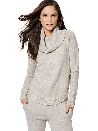 Lurex Marled Cowl-Neck Sweater - New York & Company
