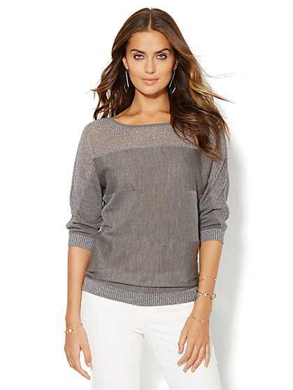 Lurex Mixed-Knit Dolman Sweater  - New York & Company