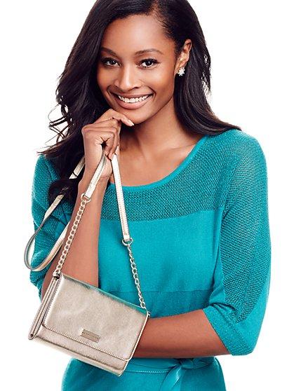 Lurex Mixed-Knit Dolman Sweater  - New York & Company