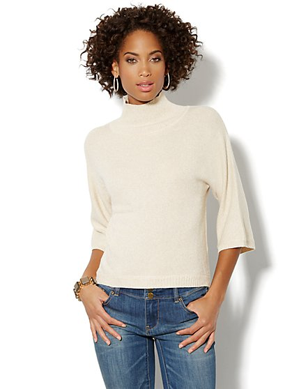 Lurex Mock-Neck Sweater  - New York & Company