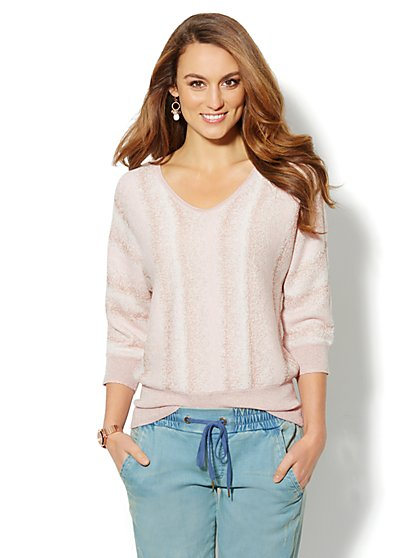Lurex Ombre V-Neck Sweater - New York & Company