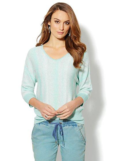 Lurex Ombre V-Neck Sweater - New York & Company
