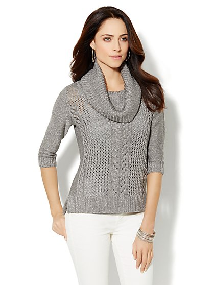 Lurex Open-Knit Cable Sweater  - New York & Company