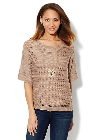 Lurex Open-Knit Sweater - New York & Company