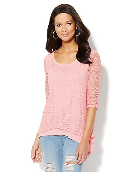 Lurex Open-Knit Top  - New York & Company