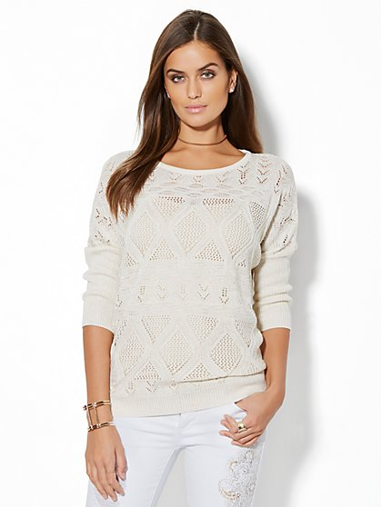 Lurex Pointelle-Knit Dolman Sweater - New York & Company