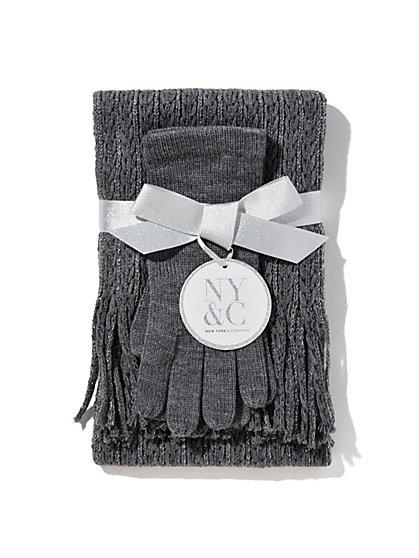 Lurex Ribbed-Knit Scarf & Glove Gift Set  - New York & Company
