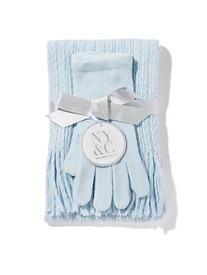 Lurex Ribbed-Knit Scarf & Glove Gift Set  - New York & Company