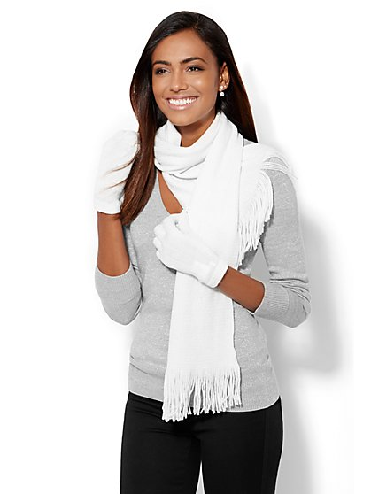 Lurex Scarf & Glove Gift Set  - New York & Company