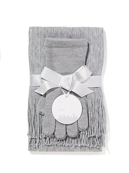 Lurex Scarf & Gloves Gift Set  - New York & Company