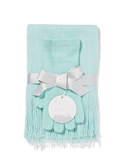 Lurex Scarf & Gloves Gift Set  - New York & Company