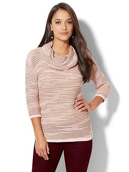 Lurex Stripe Cowl-Neck Sweater - New York & Company