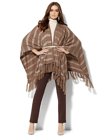 Lurex-Stripe Fringed Poncho  - New York & Company