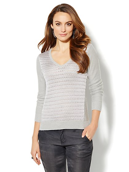 Lurex-Stripe Open Knit Sweater - Grey - New York & Company