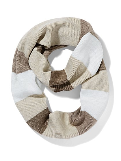 Lurex Striped Infinity Scarf  - New York & Company