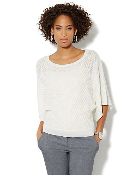 Lurex Textured Dolman Sweater - New York & Company