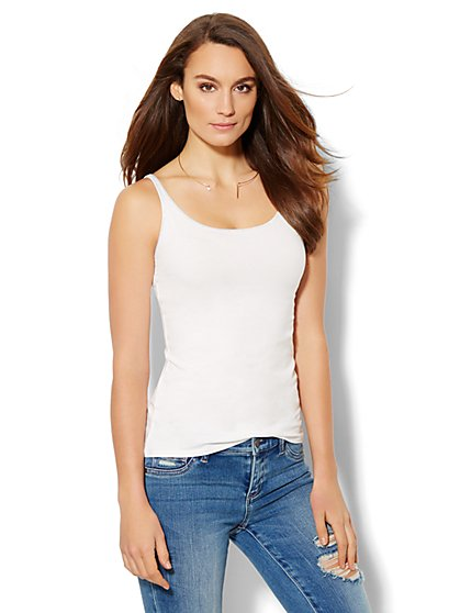 Lurex-Trim Tank Top  - New York & Company