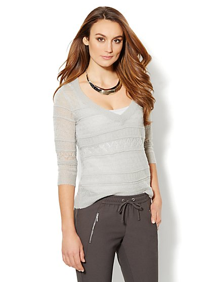 Luxe Knit Open-Stitch V-Neck Sweater - New York & Company