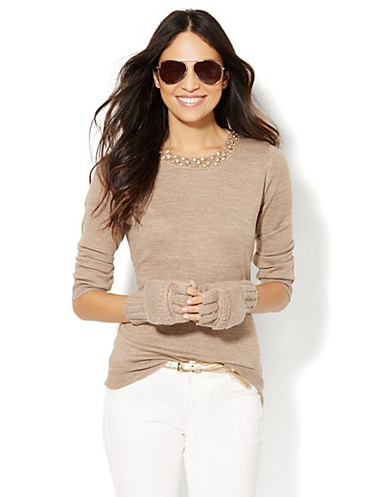 Luxe Waverly Crewneck Sweater - Beaded Neckline  - New York & Company