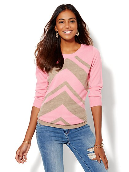 Luxe Waverly Crewneck Sweater - Chevron - New York & Company