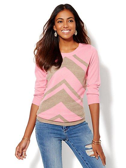 Luxe Waverly Crewneck Sweater - Chevron - New York & Company