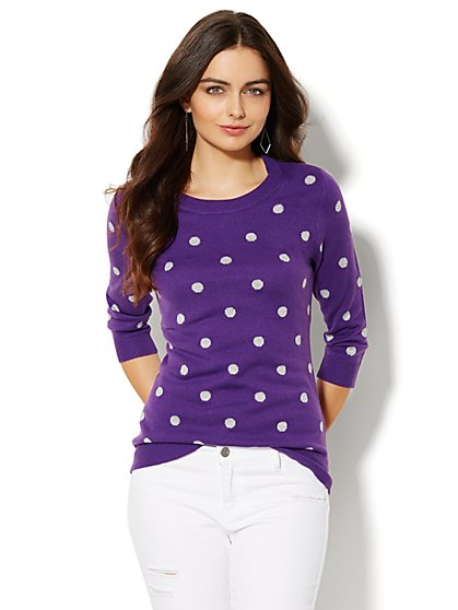 Luxe Waverly Crewneck Sweater - Shimmer Polka Dot - New York & Company
