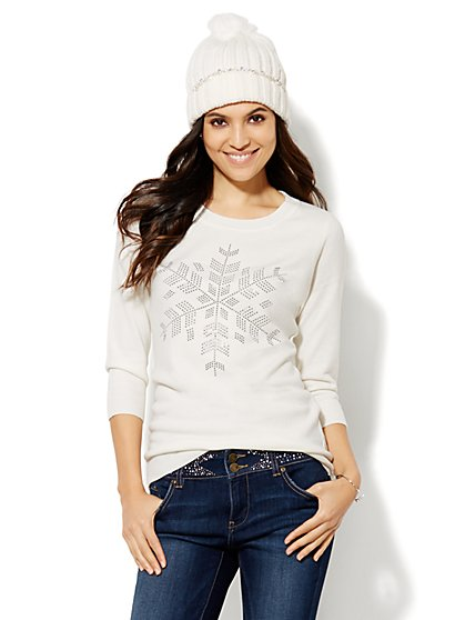 Luxe Waverly Crewneck Sweater - Snowflake  - New York & Company