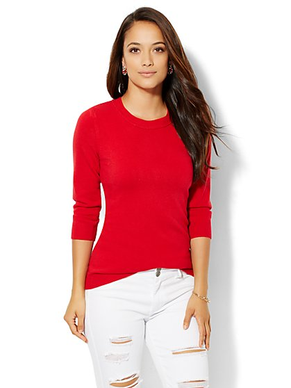 Luxe Waverly Crewneck Sweater - Solid  - New York & Company