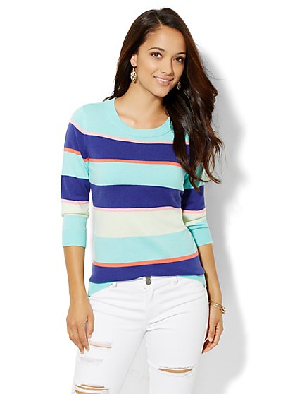 Luxe Waverly Crewneck Sweater - Stripe  - New York & Company