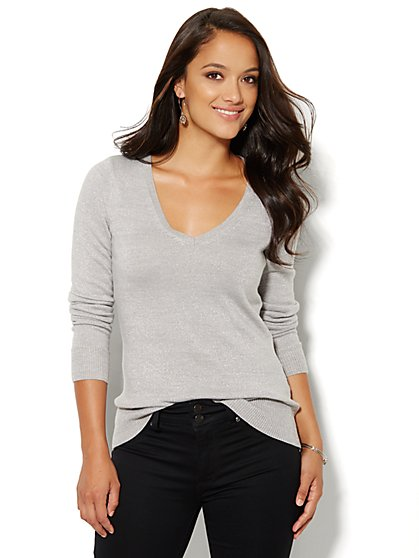Luxe Waverly Lurex V-Neck Sweater  - New York & Company