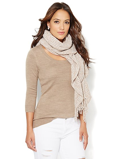 Luxe Waverly Scoopneck Sweater - Solid  - New York & Company
