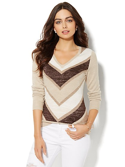 Luxe Waverly Sweater - Lurex Stripe  - New York & Company