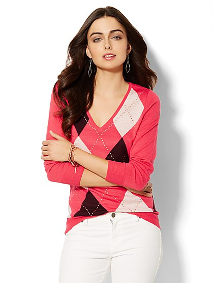 Luxe Waverly V-Neck Sweater - Argyle & Rhinestone - New York & Company