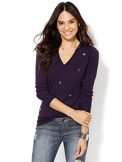 Luxe Waverly V-Neck Sweater - Beaded Cluster  - New York & Company