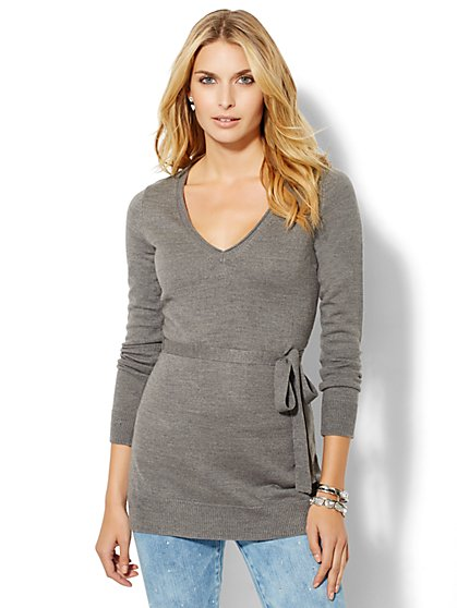Luxe Waverly V-Neck Sweater - Belted Tunic  - New York & Company