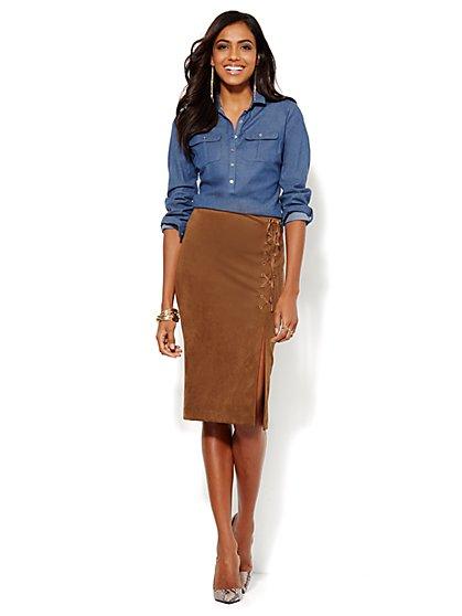Madison Chambray Shirt - Popover - Medium Blue - Petite - New York & Company